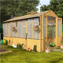 BillyOh 4000 Lincoln Wooden Polycarbonate Greenhouse with Opening Roof Vent  3 x 6 Lincoln Wooden Greenhouse