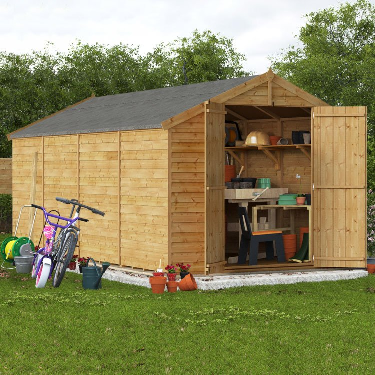 Image of 16x8 Keeper Overlap Apex Wooden Shed Windowless BillyOh