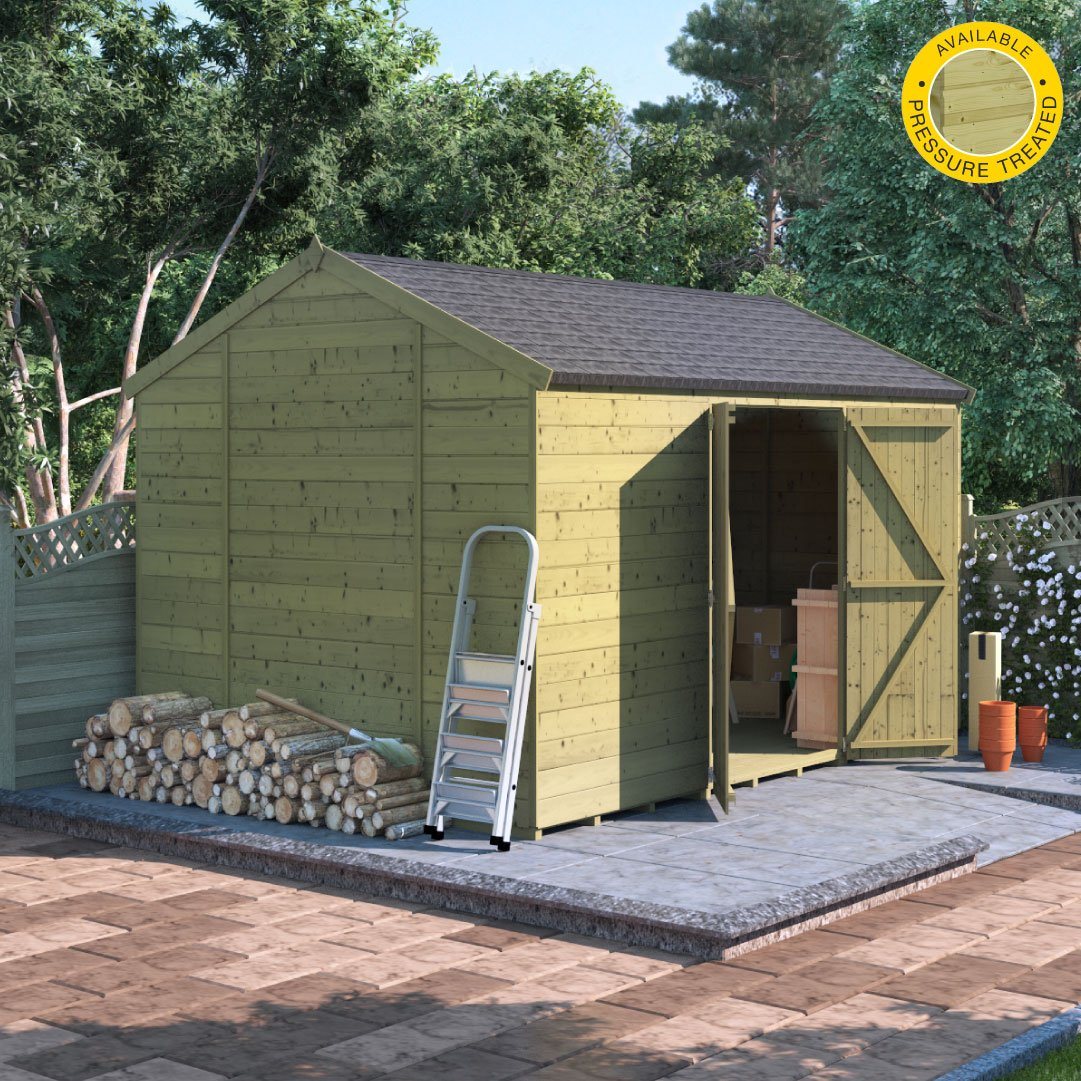 Image of 12x8 Pressure Treated TandG Reverse Apex Shed BillyOh Expert Reverse Workshop Windowless